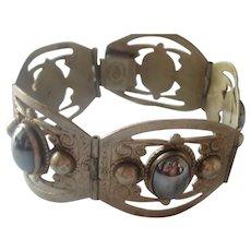 Vintage Mexico Taxco Sterling Silver Black Hemitite Bracelet