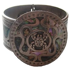 """Vintage Mexico Taxco Bracelet """"TICK"""" Sterling Silver Figural Mother Pearl Abalone Inlay 1960's"""