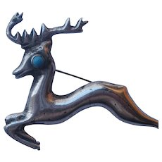 Vintage Taxco Mexico Reindeer Leaping Deer Figural Sterling Silver Turquoise Pin