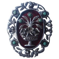 Vintage Mexico Taxco Floral Fountain Turquoise Brooch Pin 1940's