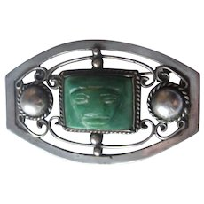 Vintage Mexico Taxco  Sterling Silver  Carved Green Stone Face BIG  Filagree Brooch Pin 1940's