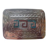 Vintage Native American Silver Belt Buckle Turquoise Coral
