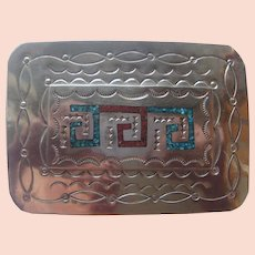 b5fe1dd17e622 Vintage Native American Silver Belt Buckle Turquoise Coral