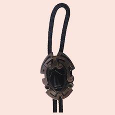 "Vintage Mexico Taxco Bolo Tie Sterling Silver Onyx 1940's ""RARE"""