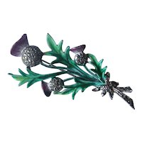Vintage Thistle Flower Green Purple Marcasite Silver Pin Brooch