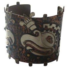 Vintage Mexico Taxco EAGLE Cuff  Mixed Metals Bracelet Figural RARE 1940's
