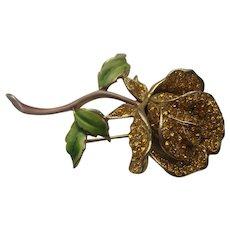 Vintage Kramer Flower Enamel Realistic Stylized Rhinestone Pin Brooch 3-D
