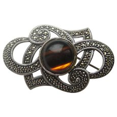 Vintage Tiger Eye Art Deco Marcasite Sterling Silver Pin Brooch 1930's
