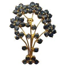 Vintage SAPPHIRE 18k Flower Tree  Floral Pin 1950's