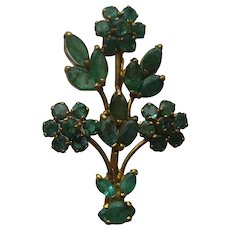 Vintage EMERALD Green 18k Floral Spray Flower Yellow Gold Realistic Pin Brooch 1950's