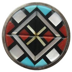 Vintage Zuni Mid Century Sterling Silver Y K NATACMU Turquoise Coral Onyx Mother of Pearl Pin Pendent 1950's