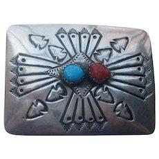 Vintage Navajo Belt Buckle Sterling Silver Turquoise Coral Stone Engraving