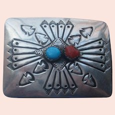 Vintage Navajo Belt Buckle Sterling Silver Turquoise Coral Stone Engraving