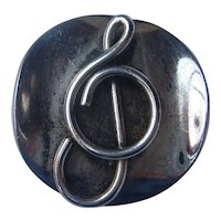 Vintage ROSLYN Mid Century Modernist HOFFMAN Treble Clef Copper Plated Silver Pin 1950's