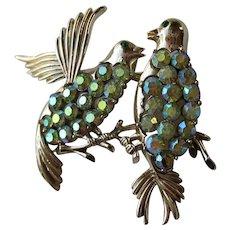 Vintage Lovebirds Bird Figural Coro Pegasus Blue AB Rhinestones 1960's