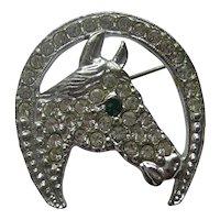 Vintage Horse Horseshoe Figural Realistic Coro Rhodium Pave Rhinestone Pin 1940's