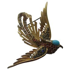 Vintage SPHINX Fantasia Bird LARGE Realistic Rhinestones 1950's