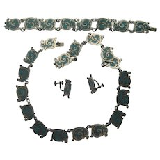 Vintage Mexico Taxco Necklace Bracelet Earrings Sterling Silver NESTOR Turquoise Inlay Set Signed