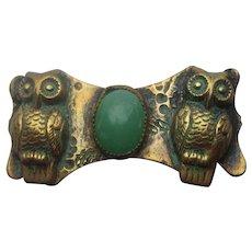 Vintage OWL Brass Figural Chrysoprase Victorian Edwardian Pin