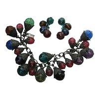 """Vintage Napier Lucite """" Pastel"""" Chunky Bracelet Earrings 1950's"""