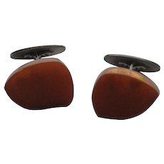 Vintage AMBER Cuff Links Art Deco Sterling Silver 925 Cuff Links