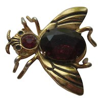 Vintage Coro Craft FLY RED Gold Tone Figural Bug 1940's
