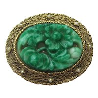 Vintage Peking Glass Green Faux Pearl Goldtone Pendent Pin Brooch 1940's