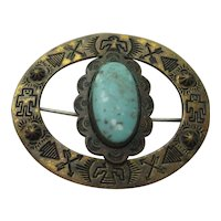 Vinage Pin Native American Fred Harvey Era Brass Turquoise Brooch