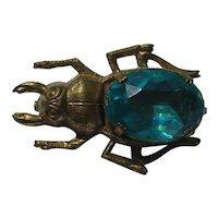 Vintage SCARAB Egyptian Revival Realistic BUG Blue Belly Burnished Gold Pin