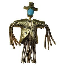 Vintage Scarecrow Pauline Couture Figural Brooch Pin