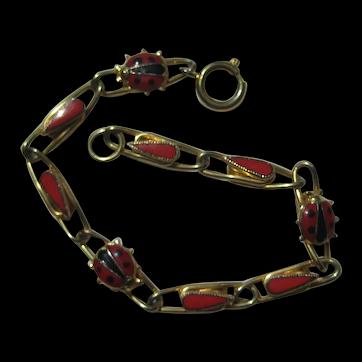 Vintage LADY BUG Figural Bracelet Realistic Red Black Enamel 1960's