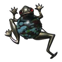 Vintage FROG Art Glass Mid Century Figural Sterling Silver Pin Brooch 1950's