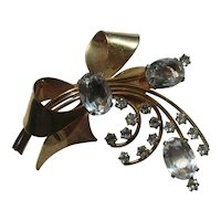 Vinage BOW Ribbon Large Gold Filled LARGE Rhinestones Brooch Pin