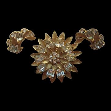 Vintage Lisner Flower SUNFLOWER Figural Bright Rhinestone Goldtone Brooch Pin Earrings