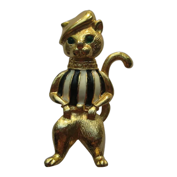 Vintage Tom Cat Kitty Figural Gerrys Enamel Rhinestone Pin