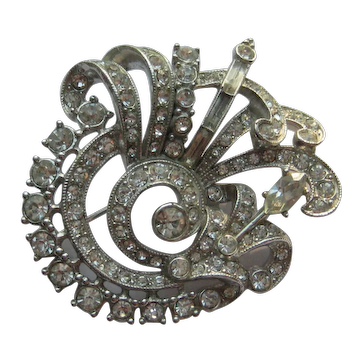 Vintage ARA Rhodium BRIGHT Rhinestone Pin Brooch 1940's Beautiful