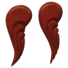 "Vintage  Bakelite 2  ""ORANGE ANGEL WINGS""  Carved Dress Clips Pins Brooches"