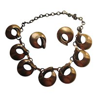 Vintage Copper Modern Mid Century Abstract Necklace Earrings Set 1950's