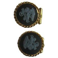 Wedgwood Cufflinks Vintage Jasper Ware Women Chariot Gold Gilt Cuff Links