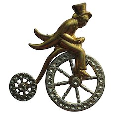 Vintage Coro High Bicycle Man Tuxedo Moving Wheels Figural Pin Brooch