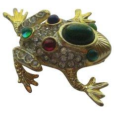 Vintage SPHINX Frog Figural Realistic Rhinestones 1950's