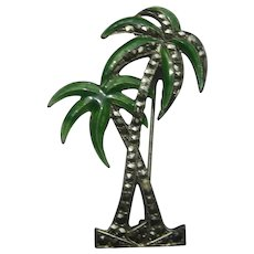 Vintage Palm Tree Figural Art Deco Enamel Sterling Silver Marcasites Pin Brooch