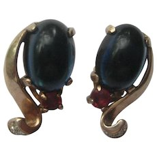 Trifari Vintage ROYAL BLUE Ruby Moonstone Jelly Belly STERLING Alfred Philippe Clip Earrings 1940's
