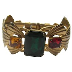 Vintage CLAMPER Bangle Bracelet LARGE Prong Rhinestones Octagonal Cuff 1940's