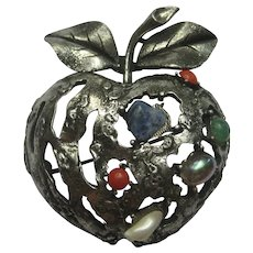 Coro Vintage APPLE Figural Realistic Faux Lapis Coral Pearl Jade Pin Brooch