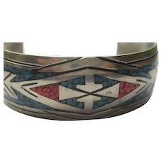 Vintage Navajo Bracelet ARROW Mosaic Turquoise Coral Inlay Cuff 1940's