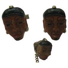 "Vintage China Japan ""HEAD FACE""  Cuff Links Enamel Figural Celluloid Cufflinks Tie Tack Set Art Deco 1930's"