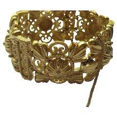 Trifari Vintage Vintage Crown Trifari Signed Bracelet Domed Filagree GoldTone