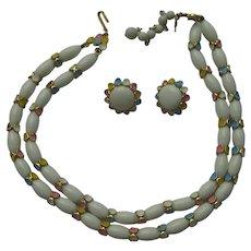 Trifari Vintage EASTER COLORS Enamel Pastel Necklace Earrings Set