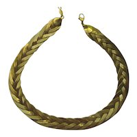 """Vintage Napier Necklace """"BRAIDED Wrap"""" Modernist Gold Plated 1950's"""